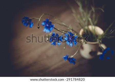 Cornflowers in vase - stock photo