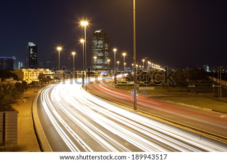Corniche road at night in Abu Dhabi, United Arab Emirates