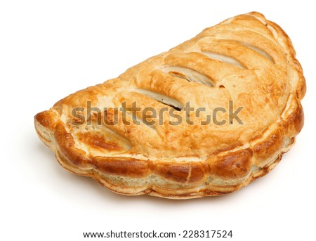 Cornish pasty on white background. - stock photo