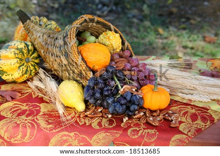 Cornucopia Harvest: A cornucopia overflows with the fruits of a fall harvest on an outdoor table full of autumn color. Seasonal, holiday concept.