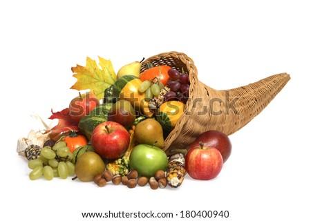 cornucopia on white background  - stock photo