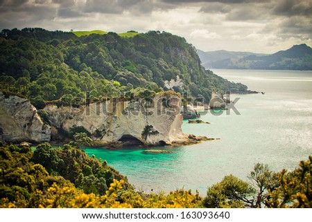 Coromandel Peninsula coastal landscape, North Island, New Zealand - stock photo