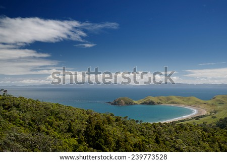 Coromandel Peninsula, view to the Great Barrier Island, New Zealand - stock photo