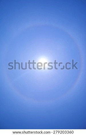 Corona, fantastic beautiful sun halo phenomenon - stock photo