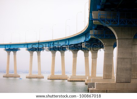 Coronado Bridge Connecting Downtown San Diego and Coronado Island, Southern California Coast, USA - stock photo