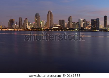Coronado, California - December 4, 2016: Centennial Park at Night - Centennial Park is a sublime park with views across the smooth blue water to the San Diego skyline.