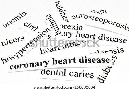 Coronary heart disease. Health care concept of diseases caused by unhealthy nutrition