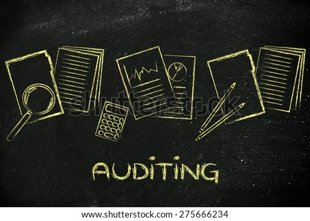corporate auditing: illustration with folders, stats and documents - stock photo