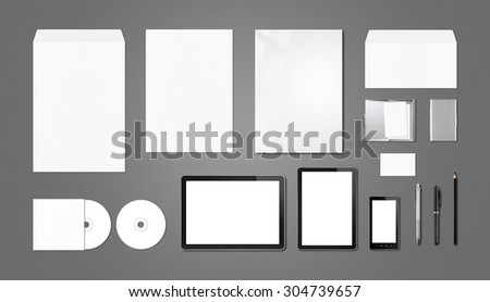 Corporate branding mockup template, isolated on dark grey background