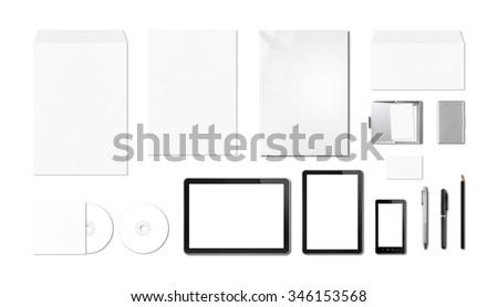 Corporate branding mockup template, isolated on white background - stock photo
