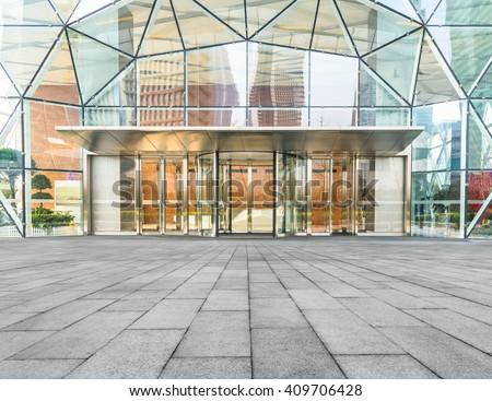 corporate building entrance  - stock photo