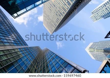 Corporate building Financial Skyscrapers in the Canary Wharf, City of London  - stock photo
