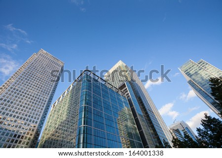 Corporate building office Financial Skyscrapers in the Canary Wharf, City of London  - stock photo