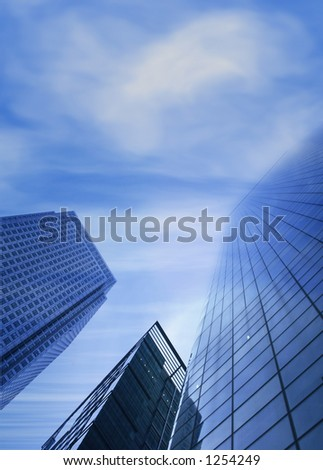 corporate buildings  blending with sky at the top - stock photo