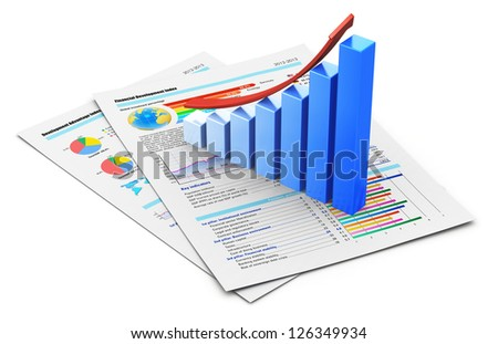 Corporate business office financial success concept: blue growing bar chart with red arrow on documents with color graph, charts, diagrams and financial data isolated on white background - stock photo