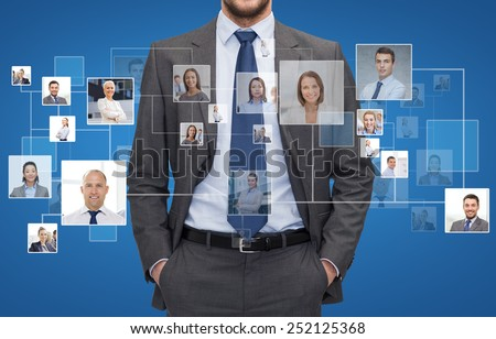 corporate business, people and cooperation concept - close up of businessman over blue background with icons of contacts
