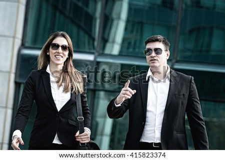 Corporate business people on the move - stock photo