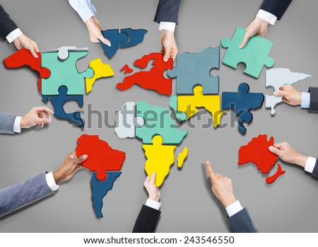 Corporate Business Team World Map Jigsaw Puzzle Concept - stock photo