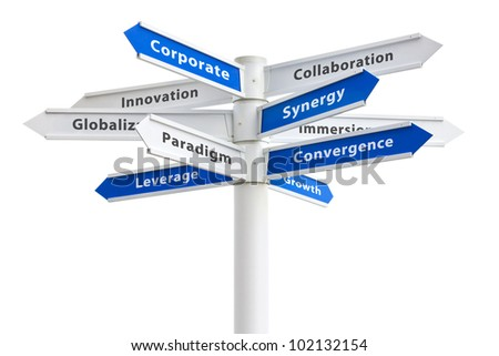 Corporate buzzwords on a sign isolated on white: synergy + paradigm + growth etc - stock photo
