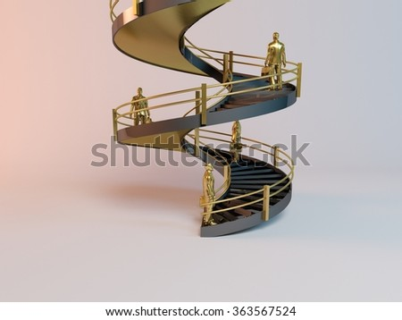 corporate 3D ladder with business men trying to reach  to the top