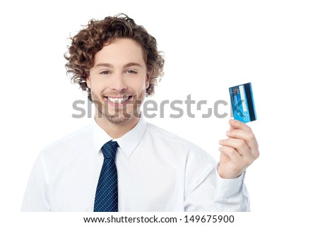 Corporate executive displaying his credit card