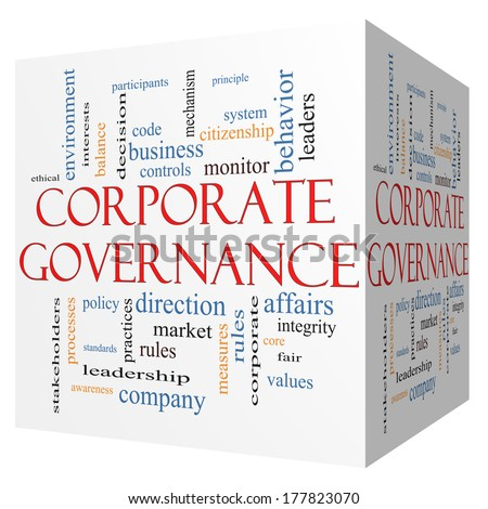 Corporate Governance 3D cube Word Cloud Concept with great terms such as code, company, rules and more. - stock photo