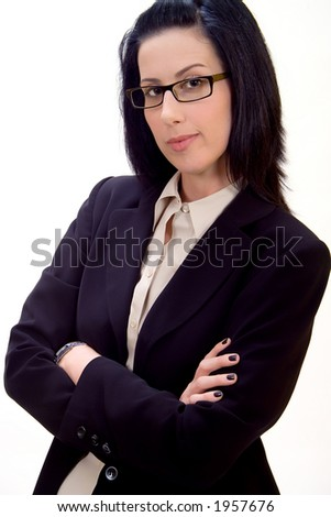 Corporate headshot of female executive ready for business - stock photo