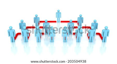 Corporate hierarchy business network 3d people. business concept leadership teamwork illustration - stock photo