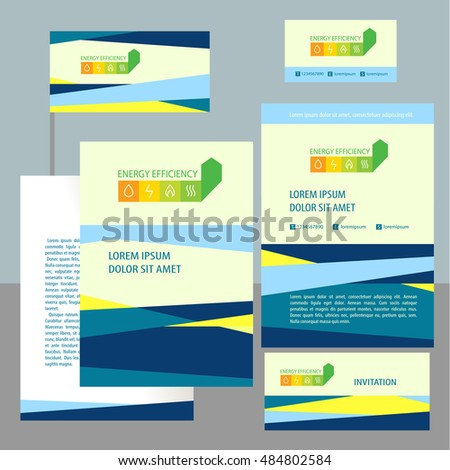 Corporate identity, banner, poster, card with infinity efficiency green eco logo. Color illustration and design template for symbol logotype of energy