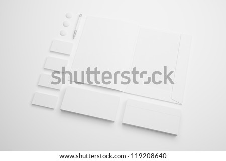 Corporate identity Stationery / Stationery identity templates:blank, business cards, envelope, pen, badge, brand-book, phone. Isolated with soft shadows - stock photo