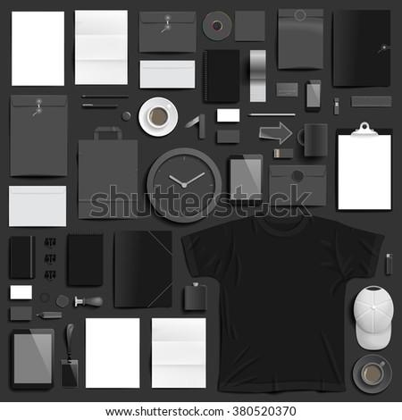 Corporate identity template on dark background - stock photo