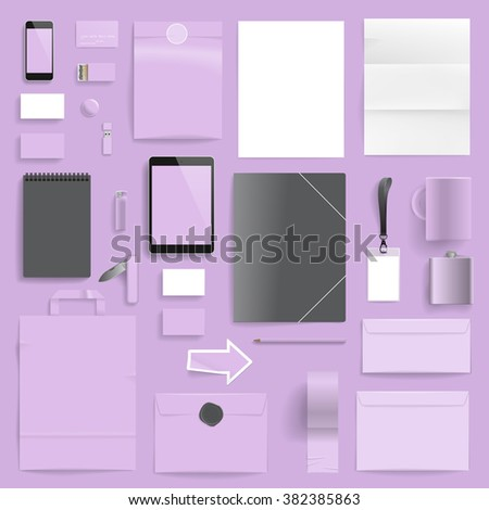 Corporate identity template on light purple background