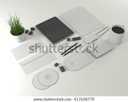 Corporate identity template set mock up with tablet gadget. Business stationery mockup with white blank. Kit on white background. Letter envelope, card, notepad, pen, pencil, paper an. 3d illustration - stock photo