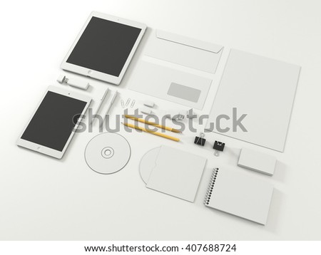 Corporate identity template set with tablet gadget. Business stationery with white blank. Branding design. On white background. Letter envelope, card, notepad, pen, pencil, paper an. 3d illustration - stock photo