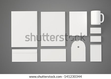 Corporate identity templates. / Corporate identity templates:blank, business cards, disk, envelope, cup, brand-book, note. Isolated with soft shadows on grey - stock photo