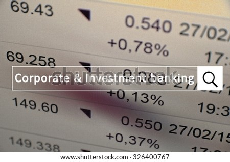 Corporate & investment banking written in search bar with the financial data visible in the background.
