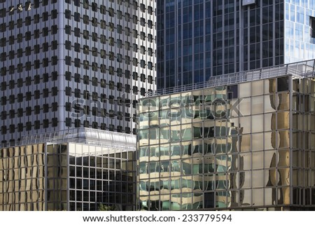 Corporate office buildings in the financial center La Defense, Paris.  - stock photo