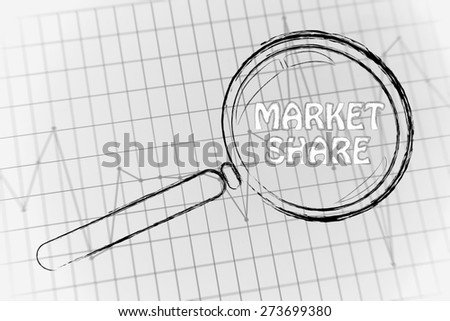 corporate performance or market rate graph with magnifying glass, concept of market share - stock photo
