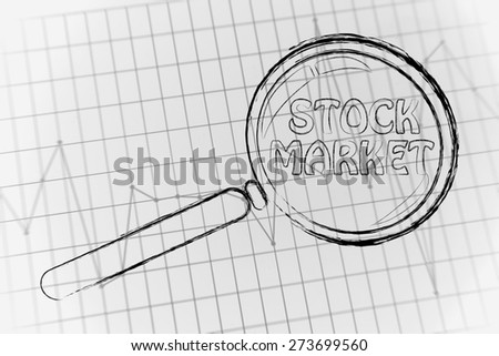 corporate performance or market rate graph with magnifying glass, concept of stock market - stock photo