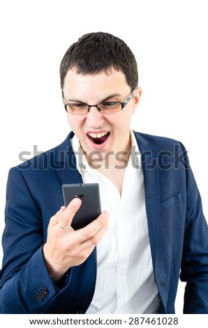 Corporate Portrait. Angry business man yelling at his smartphone - stock photo