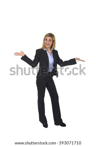 corporate portrait of young attractive and happy business woman posing confident smiling excited presenting product  in female presentation and successful businesswoman concept - stock photo