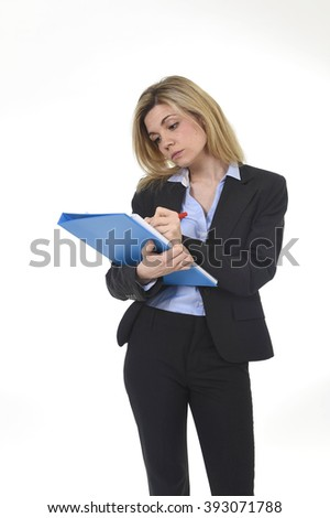 corporate portrait of young attractive and thoughtful business woman with blue folder writing with pen isolated on white background in female executive and secretary concept - stock photo
