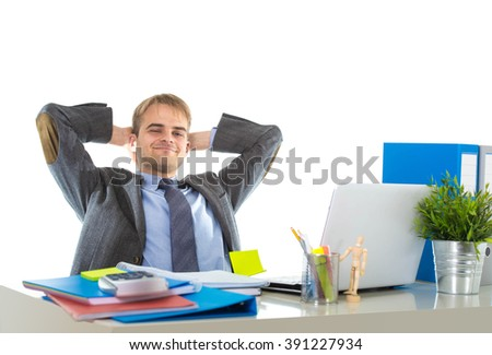 corporate portrait of young attractive businessman leaning back on his chair relaxed and smiling happy and satisfied in business success concept isolated on white background - stock photo
