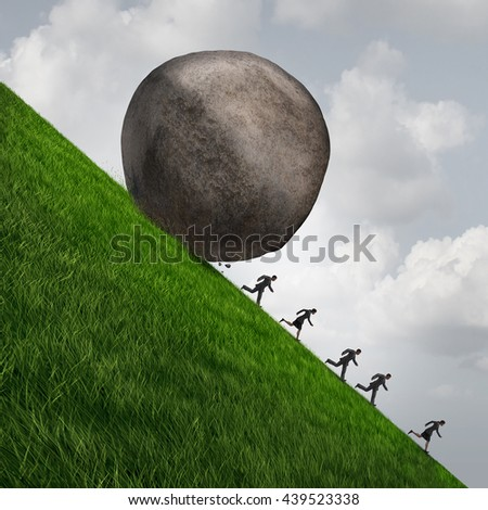 Corporate pressure business concept as a huge boulder rock rolling down a hill with running businesswomen and businessmen as an economic risk and danger metaphor with 3D illustration elements. - stock photo