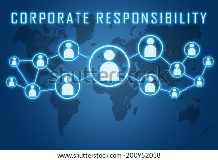 Corporate Responsibility concept on blue background with world map and social icons. - stock photo