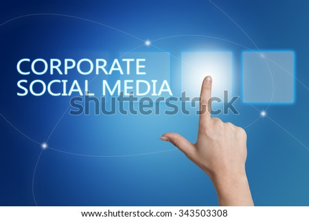 Corporate Social Media - hand pressing button on interface with blue background. - stock photo