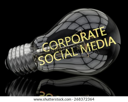 Corporate Social Media - lightbulb on black background with text in it. 3d render illustration. - stock photo