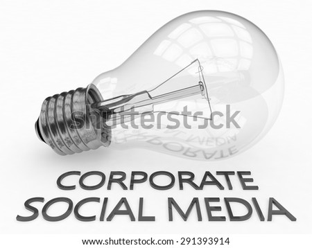 Corporate Social Media - lightbulb on white background with text under it. 3d render illustration. - stock photo