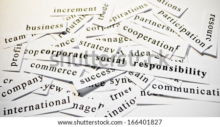 Corporate social responsibility. Concept of cutout words related with business.