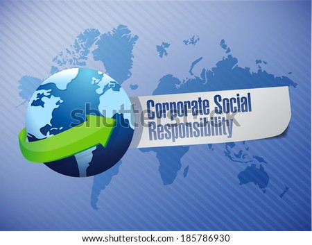 corporate social responsibility globe sign illustration design over a world map background - stock photo